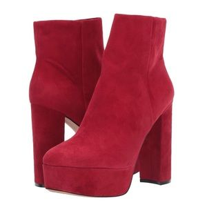 Vince Camuto Red Suede Platform Square Toe Boots